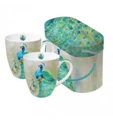 Porcelanowe kubki PPD - pawie, komplet 2 szt.