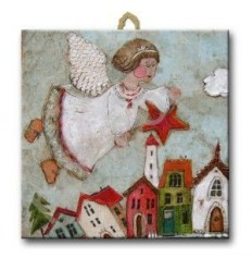 Kafelek, podstawka z aniołem-produkt polski