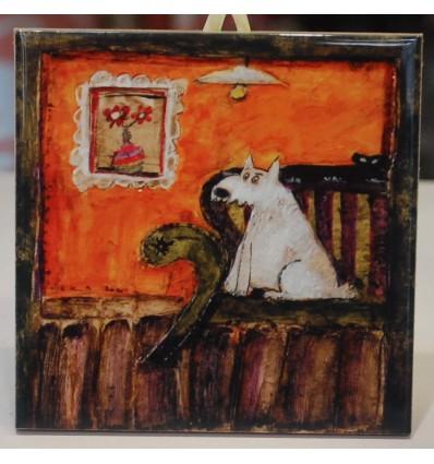 Kafelek, podkładka pies na fotelu - produkt polski