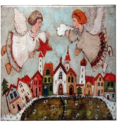 Kafelek, podkładka dwa anioły - produkt polski