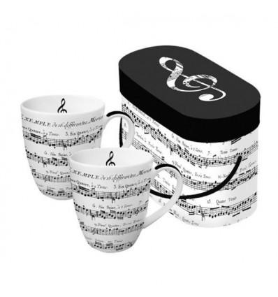 Porcelanowe kubki z nutami Adagio PPD, komplet 2 szt