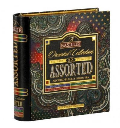 Herbata czarna i zielona owocowa ekspresowa, zestaw 32 szt - książka Basilur , puszka