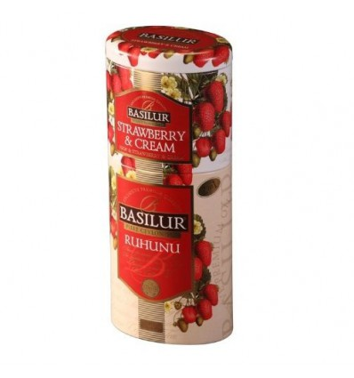 Herbata 2 w 1, czarna truskawkowo-śmietankowa, stawberry cream ruhunu -Basilur, puszka 125 g
