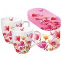 Porcelanowe kubki PPD - kwiaty, motyle, komplet 2 szt
