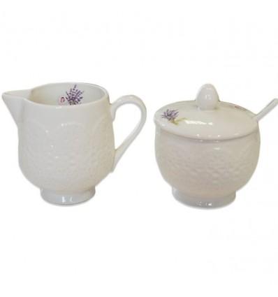 Porcelanowy zestaw cukiernica i mlecznik lawenda, Nuova R2S