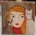 Kafelek, podkładka kobieta z kotami - produkt polski
