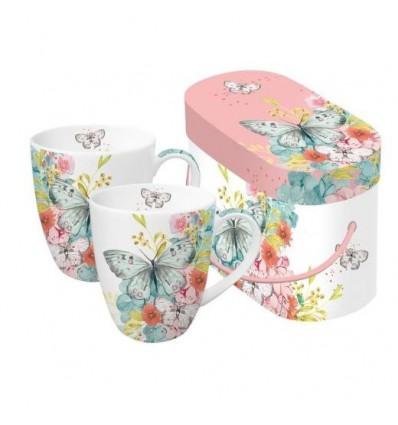 Eleganckie porcelanowe kubki PPD - pastelowe kwiaty, motyle, komplet 2 szt
