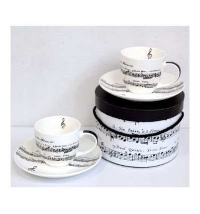 Porcelanowe filiżanki Adagio, z nutami, 2 szt, PPD