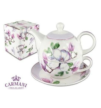 Porcelanowy zestaw tea for one bratki, 300 ml, Carmani