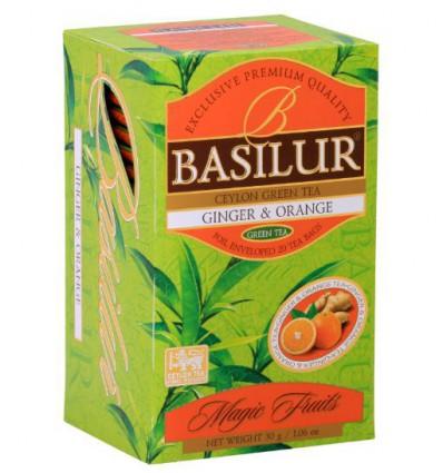 Herbata zielona, imbir, pomarańcza - ekspresowa 25 szt, Basilur