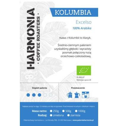 Kawa Kolumbia Excelso C EKO 100 % arabika- ziarno, 250 g
