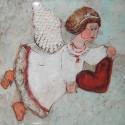 Kafelek latający anioł z sercem, seledynowy-produkt polski