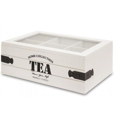 Rustykalne pudełko na herbatę, herbaciarka, 4 przegrody