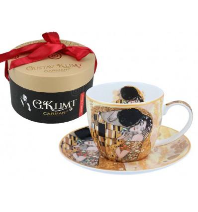 Porcelanowe filiżanki kpl. 2 szt. G. Klimt Adele i Pocałunek, 250 ml, Carmani