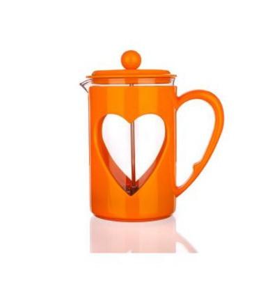 Tłokowy zaparzacz do herbaty, kawy, french press 350 ml-czerwony z sercem