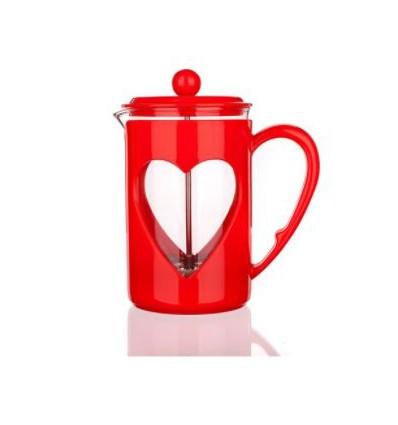 Tłokowy zaparzacz do herbaty, kawy, french press 800 ml-pomarańczowyz sercem